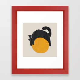 Cat with ball Framed Art Print