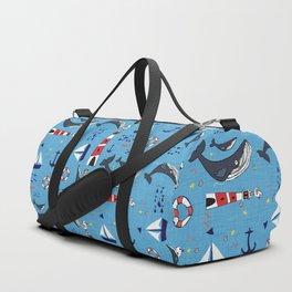 Ocean Blue Whale Blue Duffle Bag
