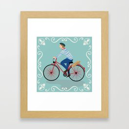 Vintage Style Frenchman on a Bicycle with Baguette Art Print Framed Art Print
