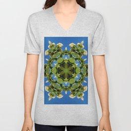 Hydrangea kaleidoscope - white flowers, green leaves, blue sky 161134 k6 Unisex V-Neck