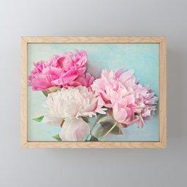 3 peonies Framed Mini Art Print