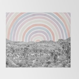 Happy Rainbow Rays // Scenic Desert Cactus Hill Landscape Watercolor Collage Dorm Room Decor Throw Blanket