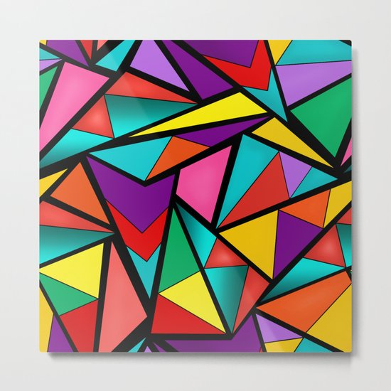 Abstract bright multicolored geometric pattern . 4 . Metal Print