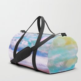 sandy beach with blue wave and summer light bokeh background Duffle Bag