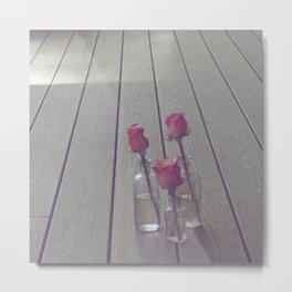 Simple Pink Roses Metal Print