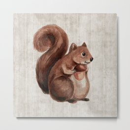 Little Squirrel, Woodland Animals, Forest Friends, Baby Animals, Children's Art Metal Print