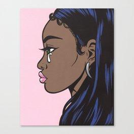 Crying Comic Black Girl Canvas Print