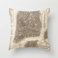 new york map Throw Pillows featuring New York Map by Le petit Archiviste