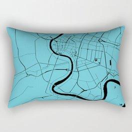 Bangkok Thailand Minimal Street Map - Turquoise and Black Rectangular Pillow