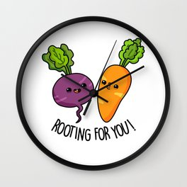 Rooting For You Cute Veggie Pun Wall Clock
