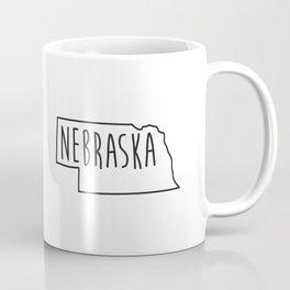 Nebraska Type Map Coffee Mug