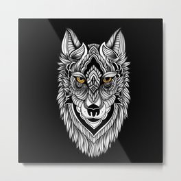 Zentangle Wolf Metal Print