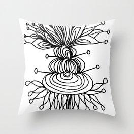Black Brum Flower Throw Pillow