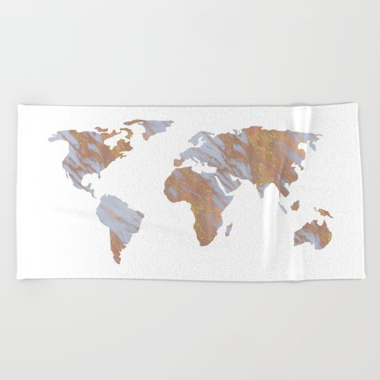 Rose Gold Marble Map - RoseGold World Beach Towel