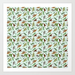 Dinosaurs & Leaves Art Print