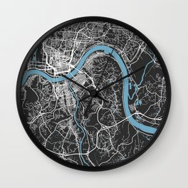 CINCINNATI Map Ohio | Black & Blue | More Colors, Review My Collections Wall Clock