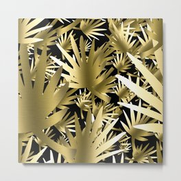 Modern color gold black tropical abstract leaves Metal Print