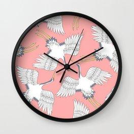 Pink Cranes Wall Clock