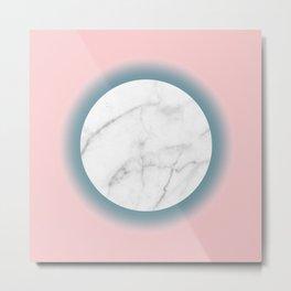 White Marble Circle Blush Millenial Pink Blue Gradient Metal Print
