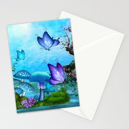 Mystic Whimsey Butterfly Pond Fantasy Stationery Cards