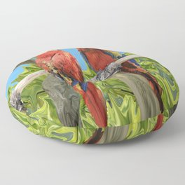 Scarlet Macaw Parrots Perching Floor Pillow