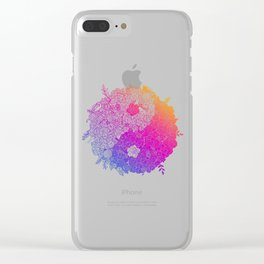 Rainbow Floral Yin Yang Clear iPhone Case