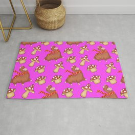 Cute llamas with scarves and funny whimsical little mushrooms seamless pattern design. Rug