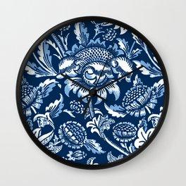 William Morris Sunflowers, Dark Blue and White Wall Clock