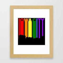 Iowa City Iowa Gay Pride Rainbow Skyline Framed Art Print