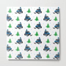 Snowmobile Pattern (blue) Metal Print