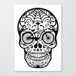Vintage Mexican Skull with Bicycle - black and white Canvas Print