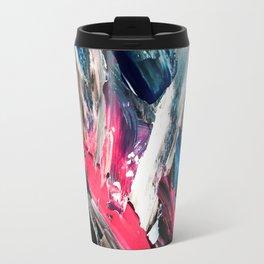 Modern navy blue pink black acrylic brushstrokes paint Travel Mug