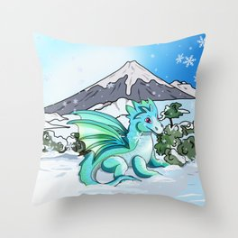 Cute baby dragon in the snow at Mount Fuji Throw Pillow