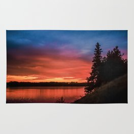 Evening on the river Rug