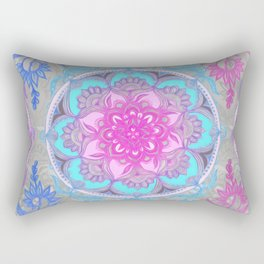 Pink, Purple and Turquoise Super Boho Doodle Medallions Rectangular Pillow