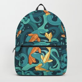 Gold fish origami Backpack