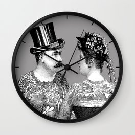 Tattooed Victorian Lovers Wall Clock