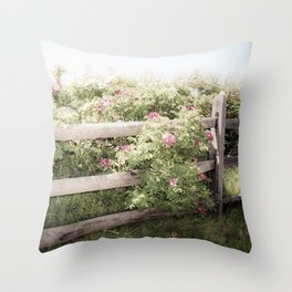 Fence Draped in Rosa Rugosa Throw Pillow