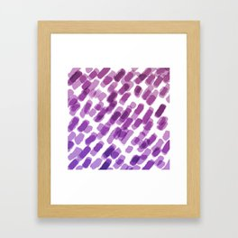 Purple Watercolor Brush Strokes Abdtraction Framed Art Print