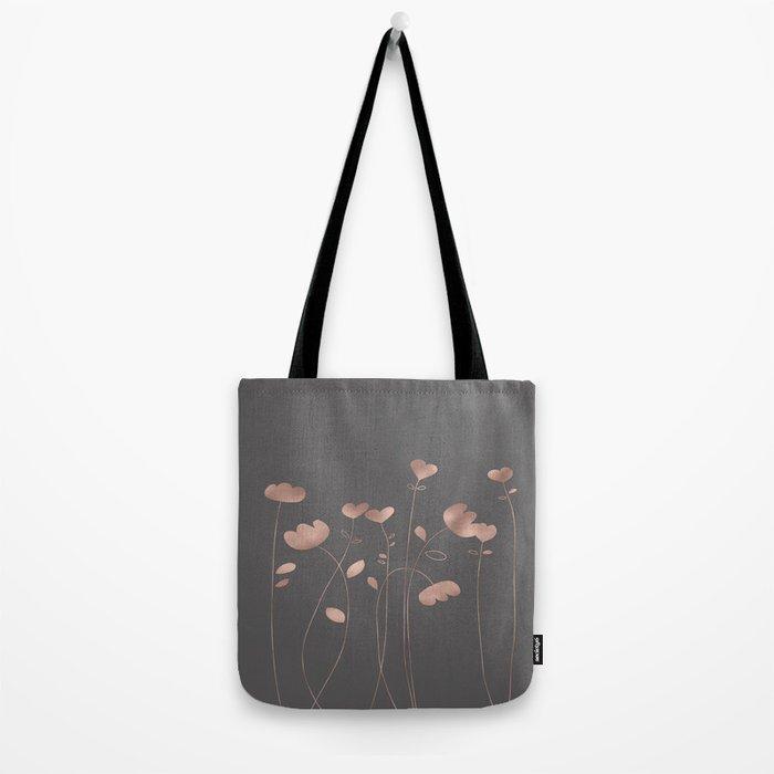 Rosegold pink flowers- floral design- Flower Tote Bag