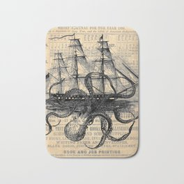Octopus Kraken attacking Ship Antique Almanac Paper Bath Mat