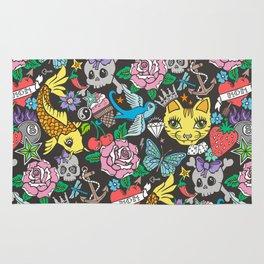 Tattoo Cats,Roses,Strawberry,Skulls Rug