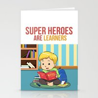 super heroes Stationery Cards featuring Super Heroes Are Learners by youngmindz