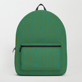 Doors & corners op art pattern in olive green and aqua blue Backpack