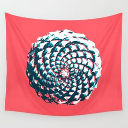 pine cone pattern in coral, aqua and indigo Wall Tapestry
