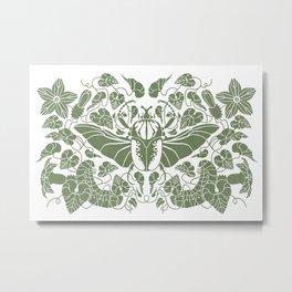 Beetle Bloom Green Metal Print
