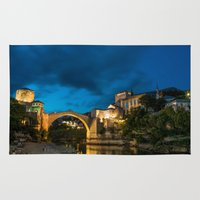 islam Area & Throw Rugs featuring Mostar at night by Fatih