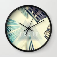 buildings Wall Clocks featuring Buildings by Sofia Tirronen