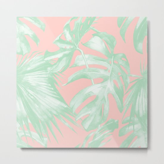 Island Love Seashell Pink + Light Green Metal Print