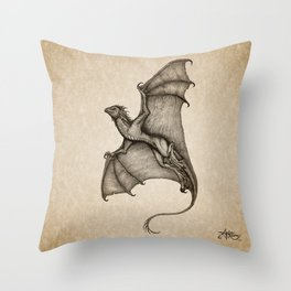 """Hurricane Wyvern"" by Amber Marine, Ink & Graphite Dragon Art, (Copyright 2016) Throw Pillow"